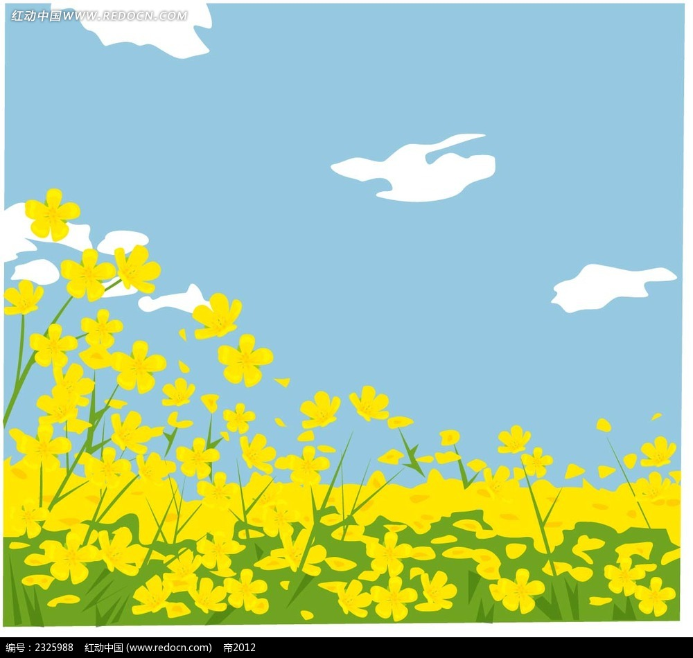 小黄花蓝天白云手绘背景画