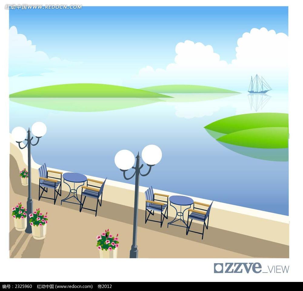 湖边休闲手绘背景画
