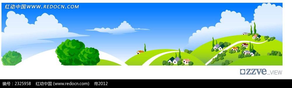 春季乡村手绘背景画