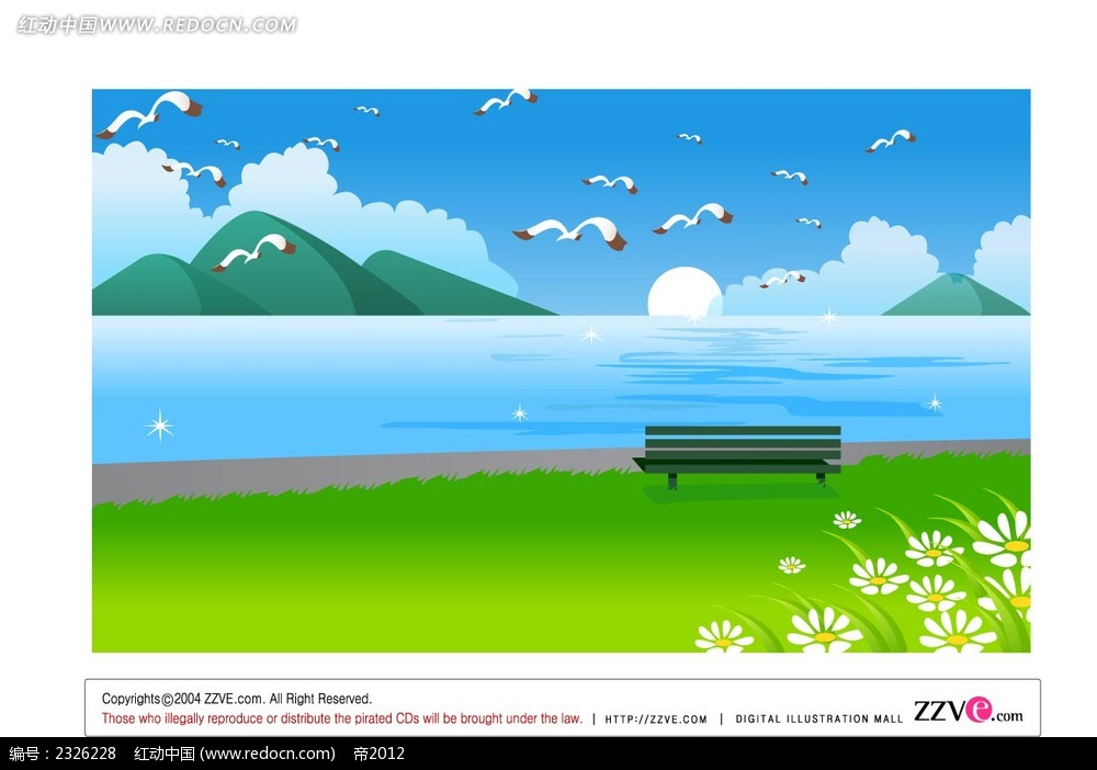 大海海鸥草地休闲椅手绘背景画矢量图ai免费下载_底纹