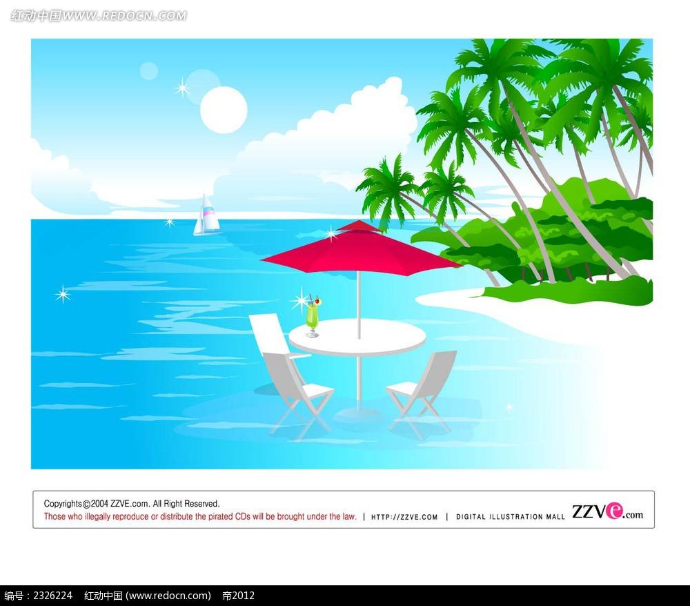 沙滩大海躺椅椰树手绘背景画