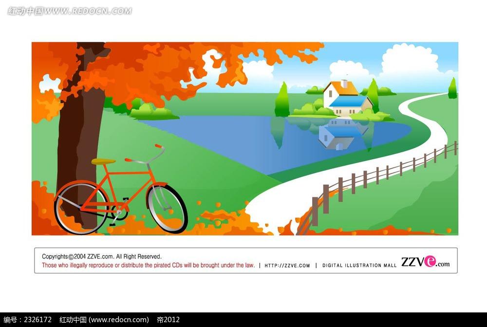 乡村美景枫树自行车手绘背景画