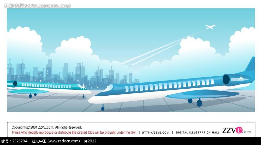 蓝色城市剪影机场手绘背景画