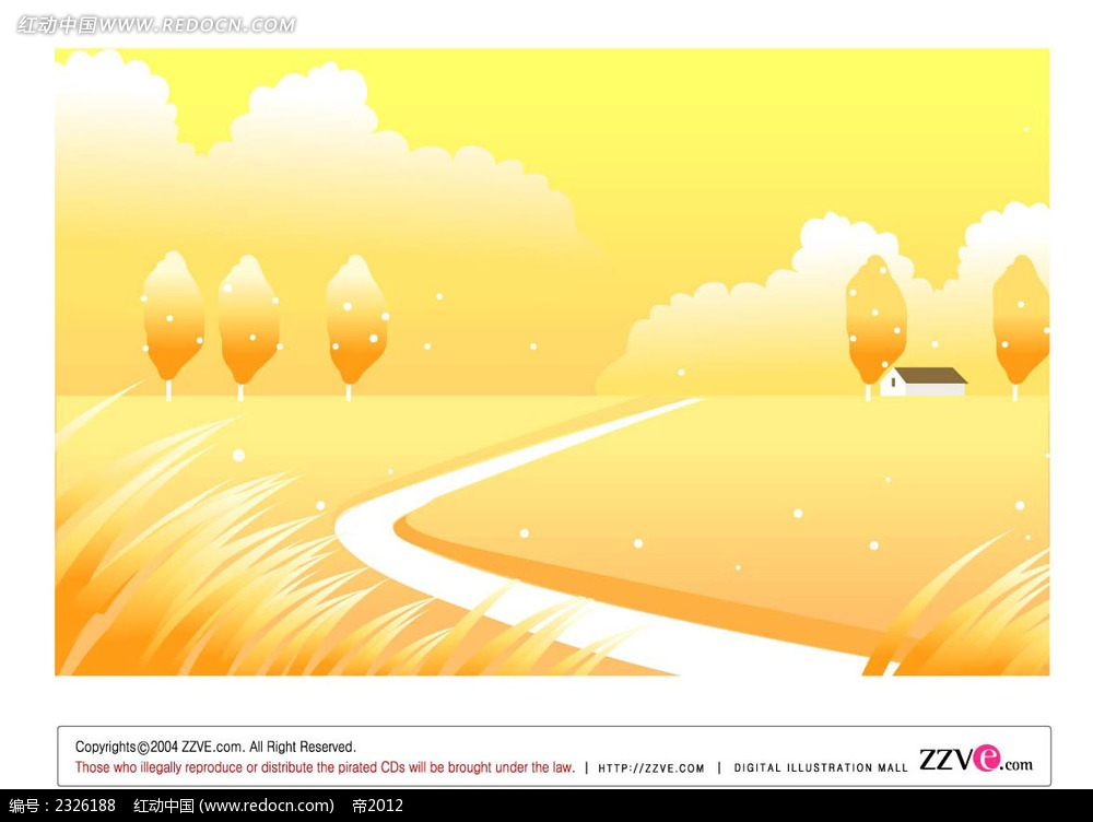 橙色背景乡村景色手绘背景画