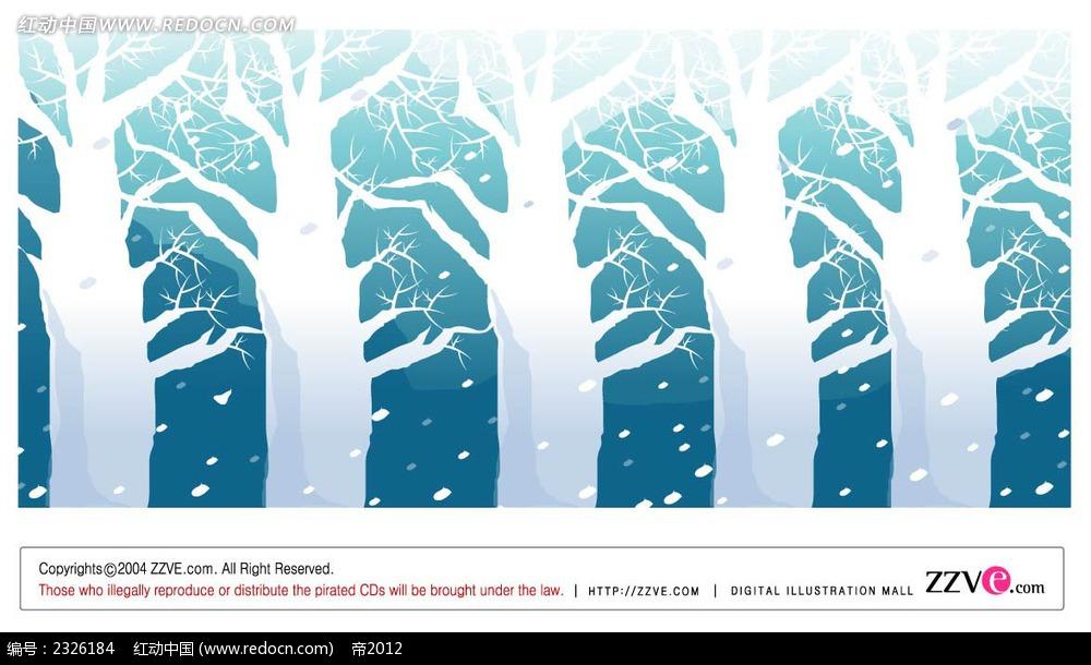> 冬季雪景树林手绘背景画  冬季雪景树林手绘背景画  手绘画 线描画