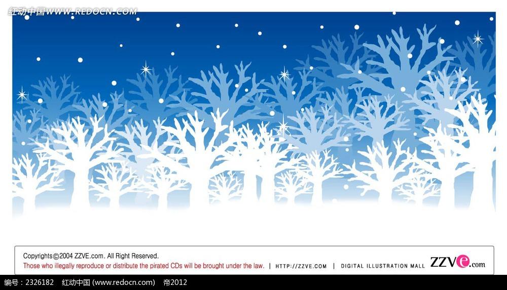 冬季乡村雪景树枝手绘背景画