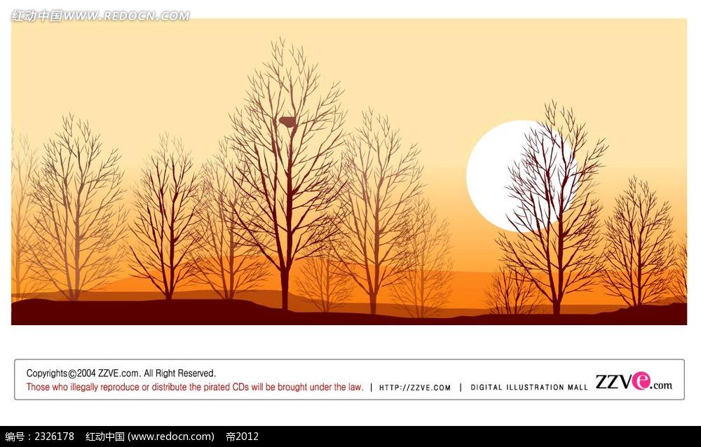 秋季黄昏手绘背景画