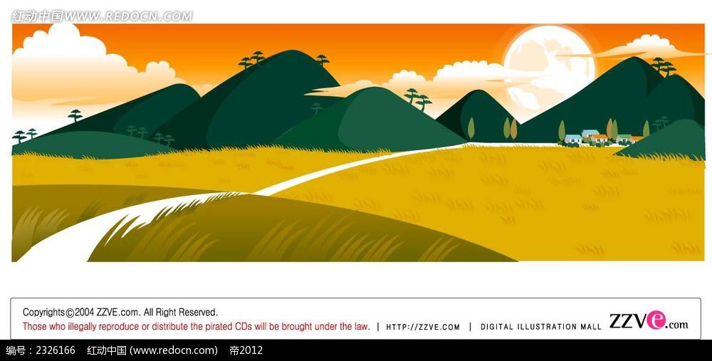 免费素材 矢量素材 花纹边框 底纹背景 乡村麦田手绘背景画  请您分享