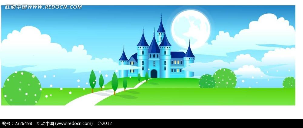 城堡绿地蓝天白云手绘背景画
