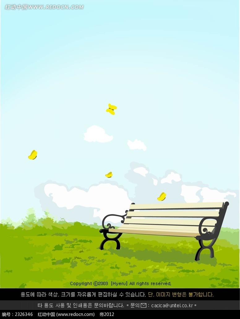 春天绿草地休闲椅子手绘背景画