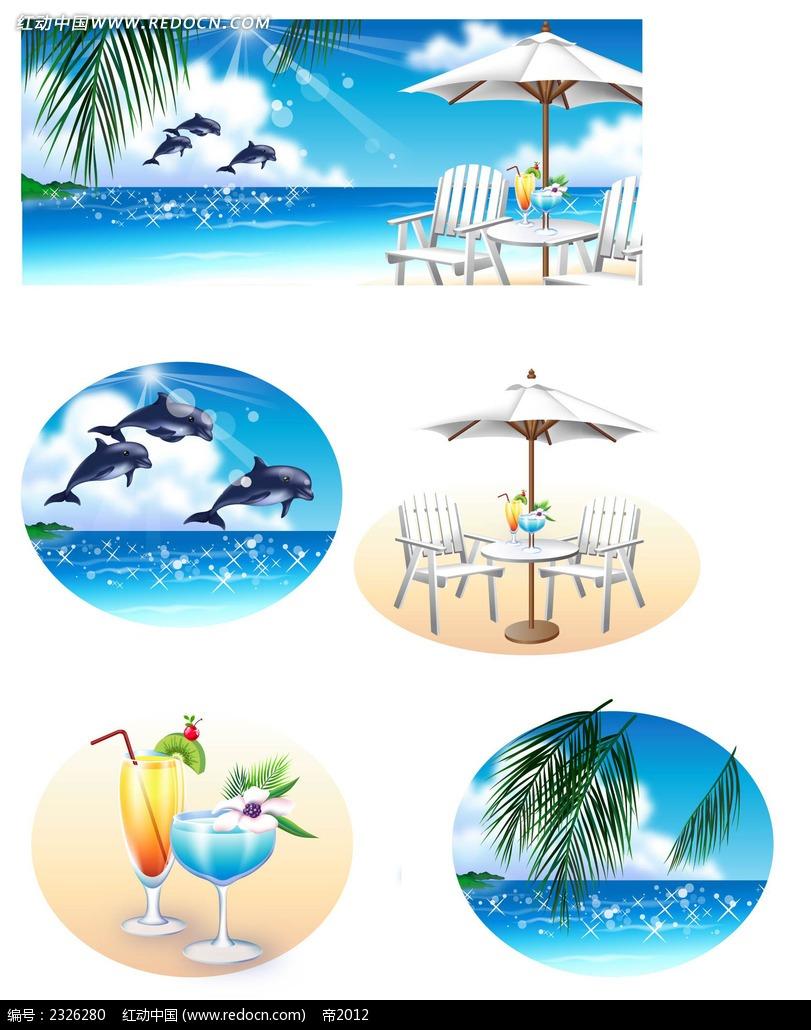 夏天沙滩大海休闲椅鲸鱼手绘背景画
