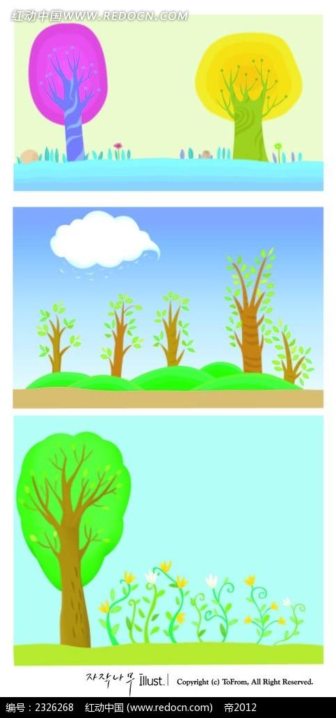春天小树小花背景手绘背景画