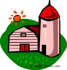 乡村房子水体手绘图形