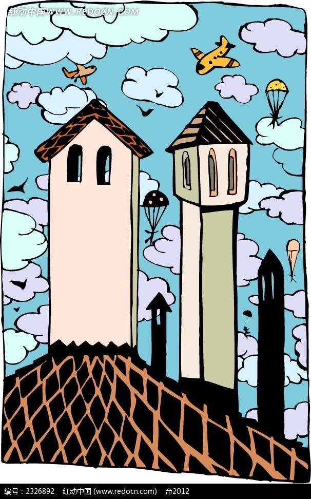 空中楼房手绘背景画