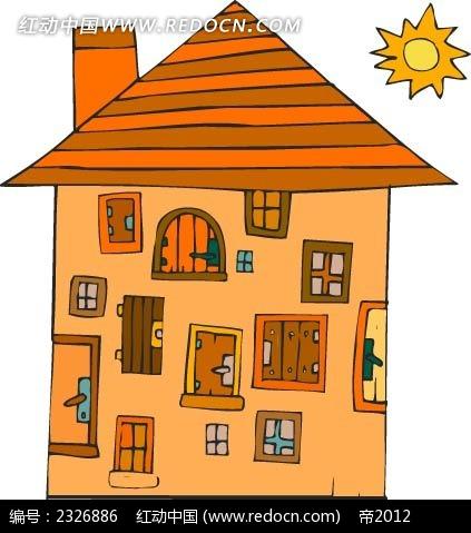 乡村小木屋手绘图形