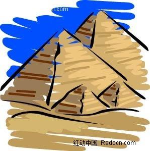 金字塔手绘背景画