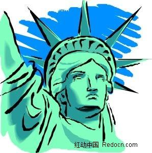 自由女神像手绘背景画