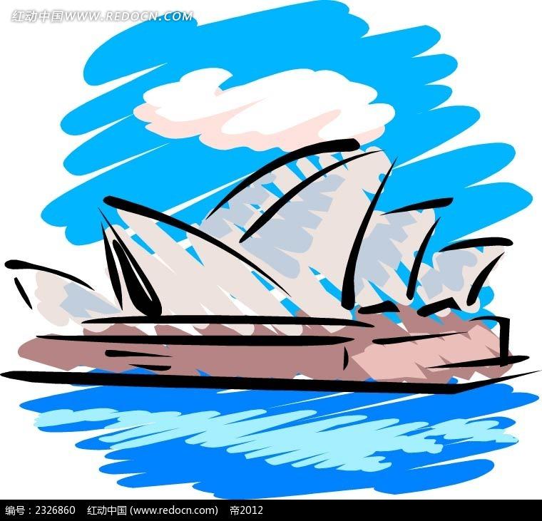 悉尼歌剧院手绘背景画ai素材免费下载_红动网