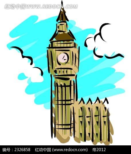 钟塔楼手绘背景画