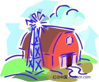 铁塔房子手绘画图片