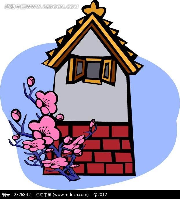 梅花小房子手绘画矢量图_建筑景观