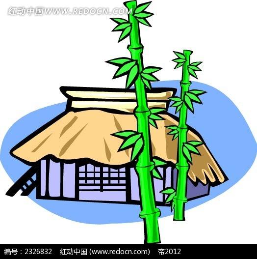 茅草屋竹子手绘线描画