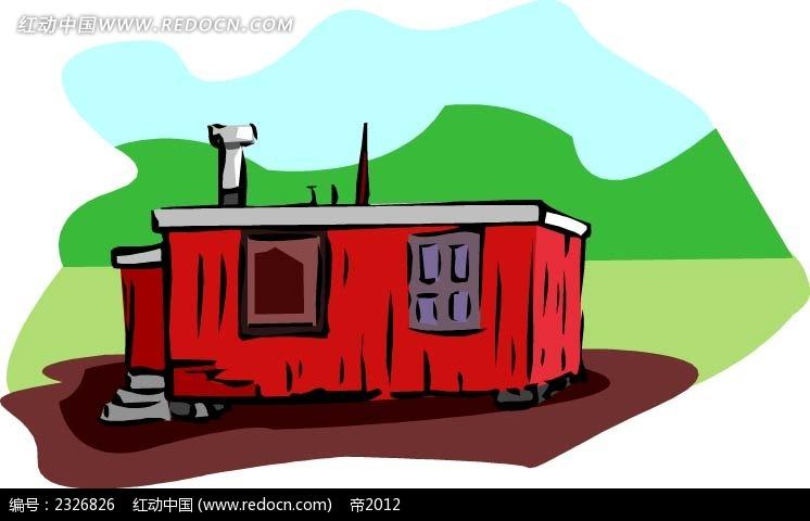乡村红房子手绘线描背景画矢量图ai免费下载_建筑景观