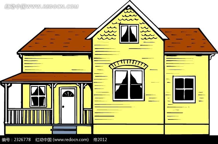 免费素材 矢量素材 空间环境 建筑景观 黄色别墅手绘线描画  请您分享图片