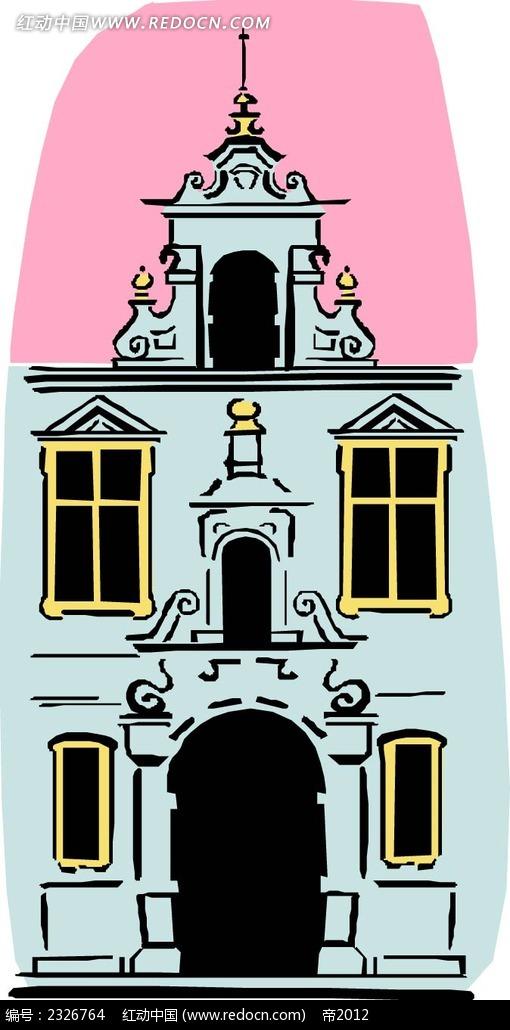 欧式别墅 别墅插画 欧式房屋 卡通楼房 建筑 房地产 建设 宫殿 城堡