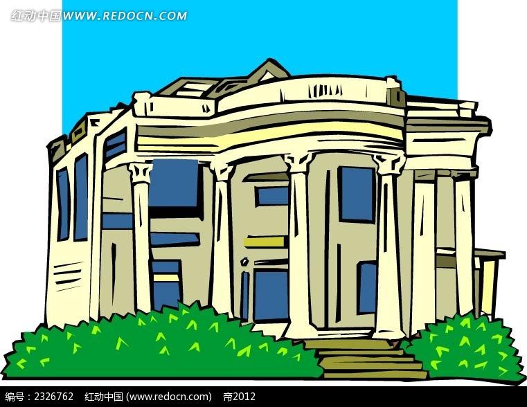 > 欧式大楼建筑插图  欧式别墅 别墅插画 欧式房屋 卡通楼房 建筑 房