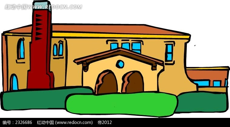 手绘房屋卡通图