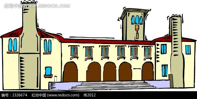 卡通欧式建筑插画