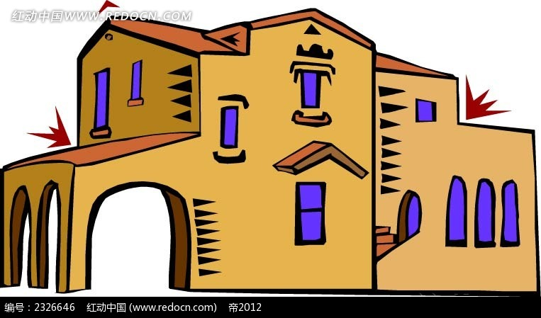 空间环境 建筑景观 > 中东老式建筑  欧式别墅 别墅插画 欧式房屋