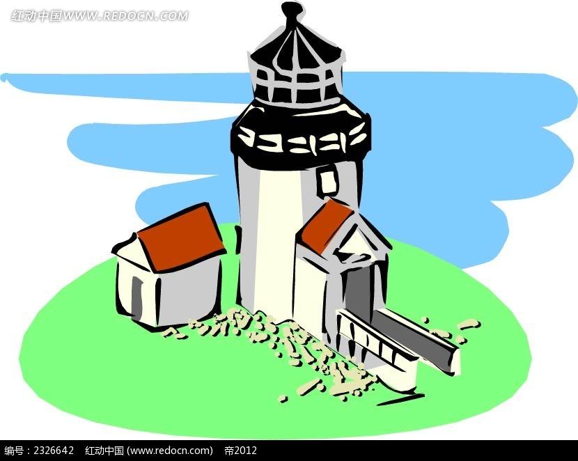 乡村塔楼手绘线描背景画ai免费下载_建筑景观素材