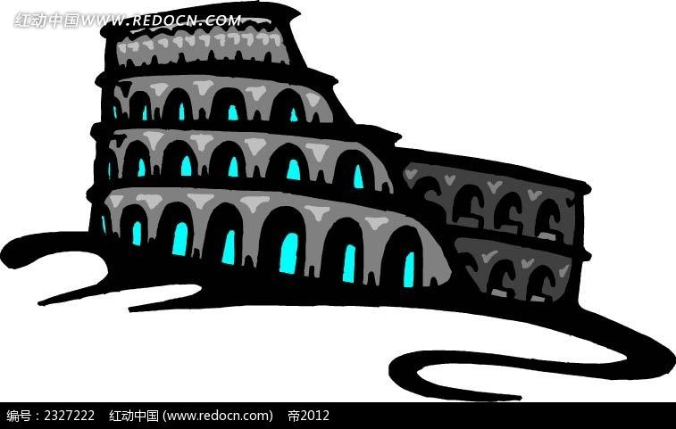 欧式建筑立体手绘画