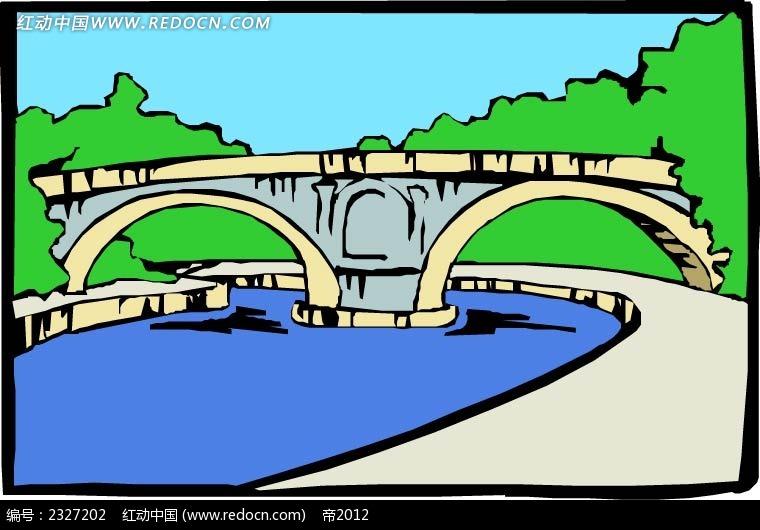 桥路面水面手绘背景画