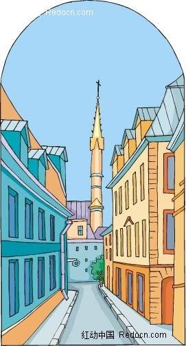欧式建筑街景手绘画