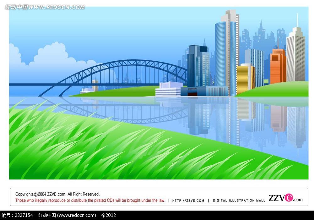 城市桥梁手绘线描背景画