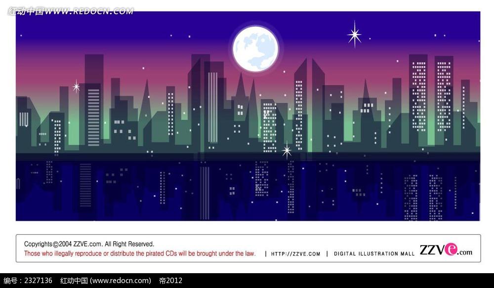 城市剪影夜景手绘背景画