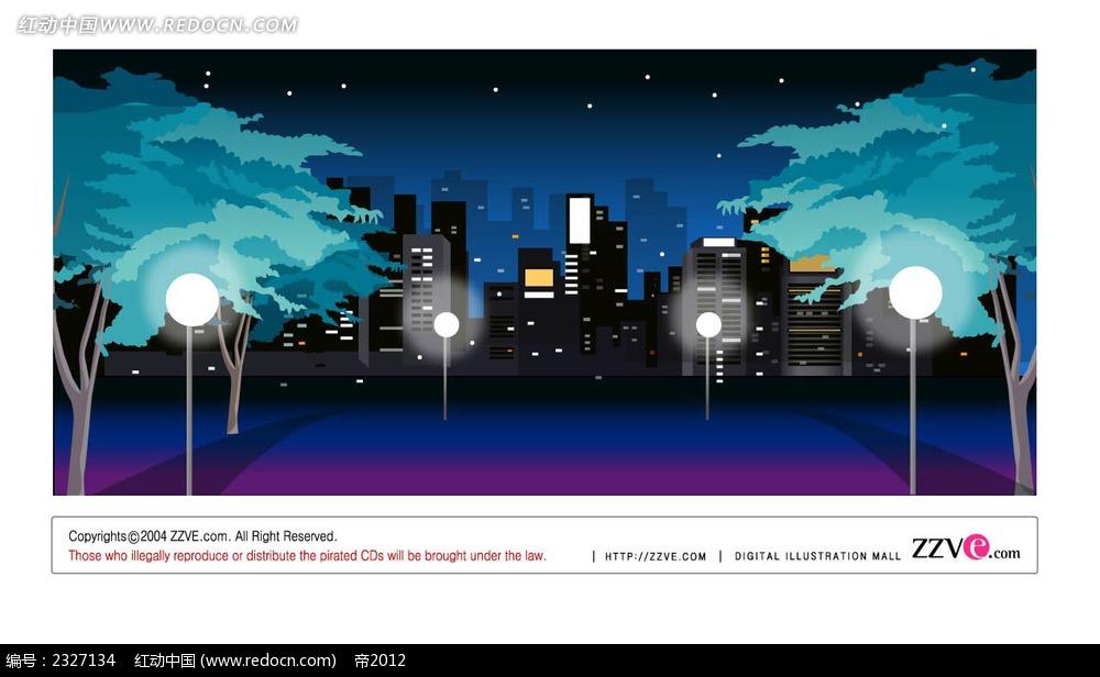 城市夜景手绘背景画