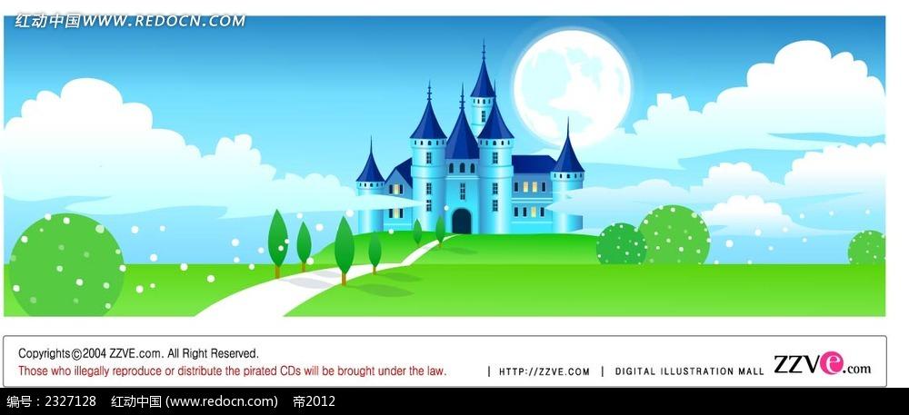 城堡蓝天白云绿草地手绘背景画