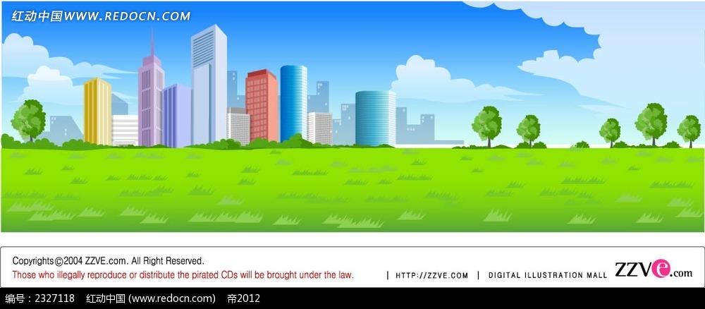 城市建筑蓝天白云绿草地手绘背景画