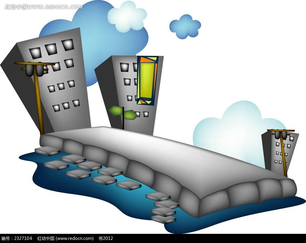 城市建筑手绘立体画