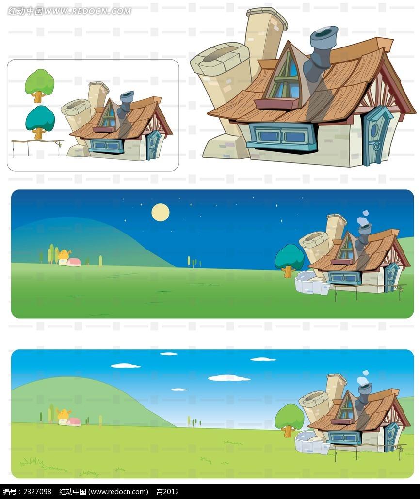 乡村小木屋手绘背景画