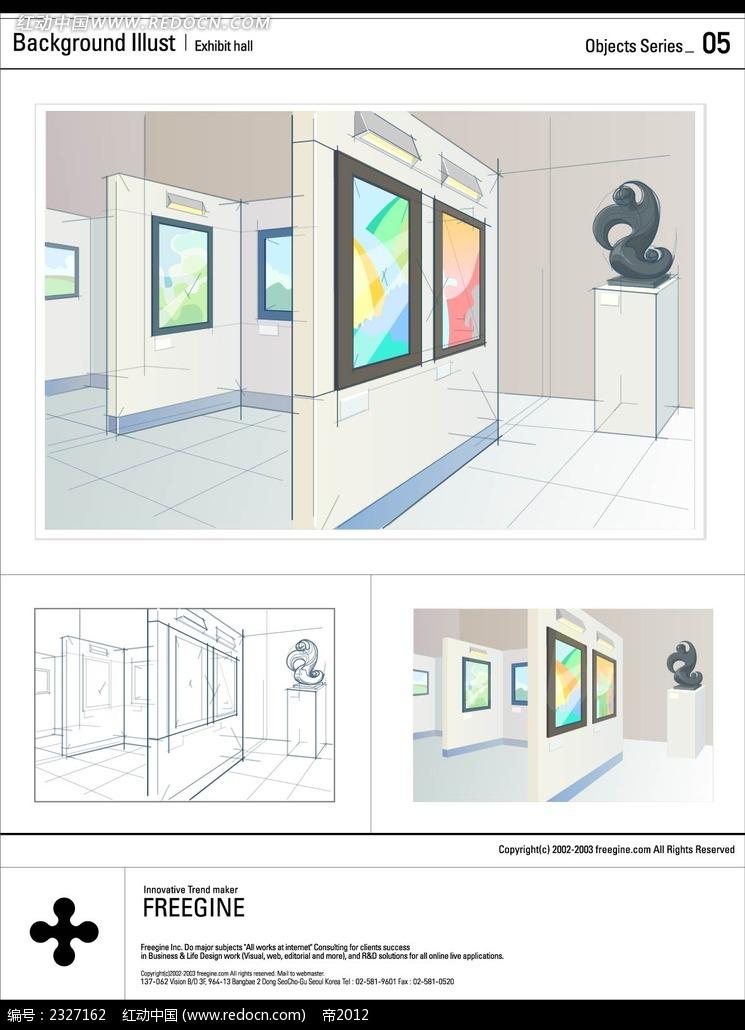 画廊手绘线描空间背景画