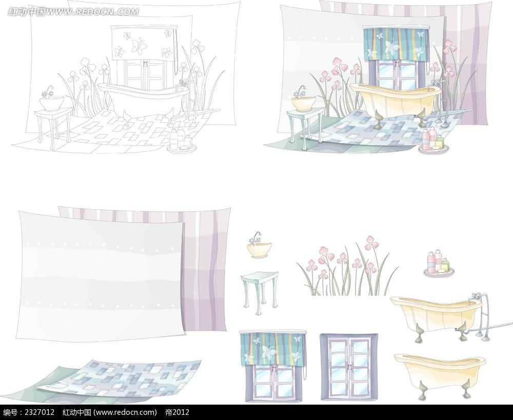 家庭浴室手绘画