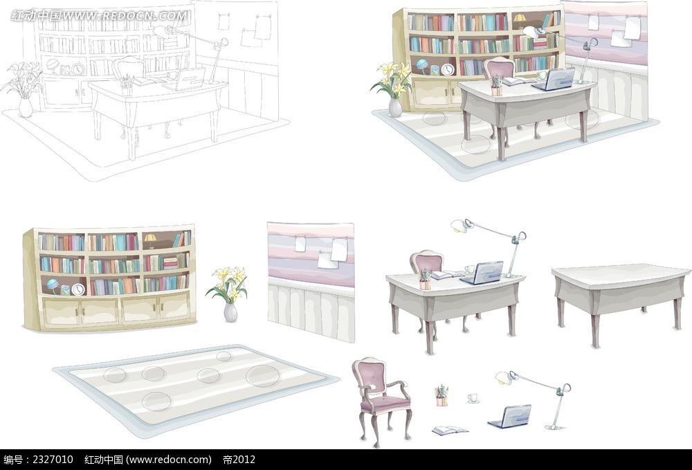 图书馆办公手绘画