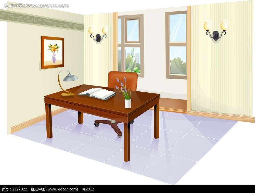 书房手绘背景画