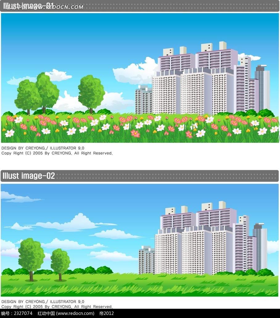高楼建筑美景手绘画