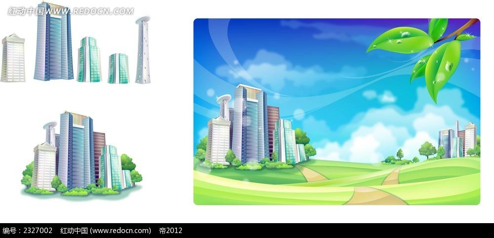城市建筑蓝天白云手绘背景画